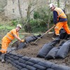 Anti-flooding works on river at Rode
