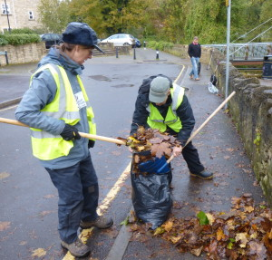 Leaves are gathered during the clean up.