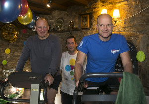 Left to right: Ex-England rugby player Will Green. The White Hart Manager Graeme Barry and Frome Triathlon member Mark Poole
