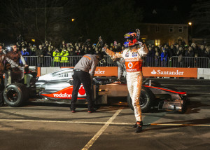 Jenson Button greets the Frome crowd