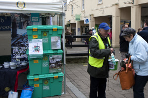 One of the generous Frome shoppers donating to a member of the Rotary Club
