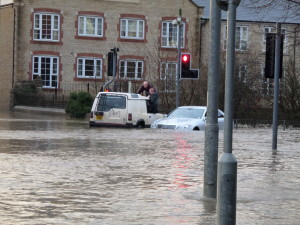 Occupants of a car at Wallbridge in Frome are rescued by the owner of a 4x4.