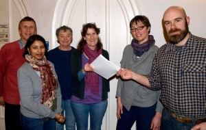 Above: From the left, John Warman, Sharmella Kirby, Rachel Bodle, Carolyn Read (all MCCU Frome volunteers), Nikki Cox, Toby Eliot.