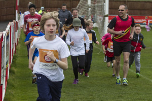 Runners compete in the Sport Relief run.