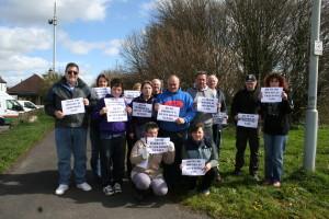 Protestors in Nunney.
