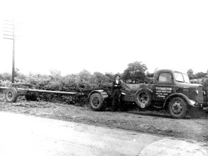 AJ driving motorised transport in 1947