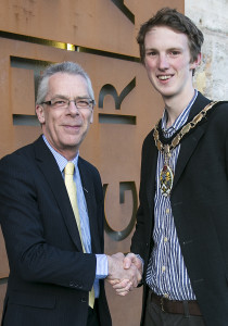 Nigel Harris with Frome mayor Dickon Moore.