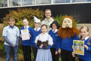 Susan Gatward from the Kumon Centre with David Gatward and Selwood School Pupils dressed as Wizard of Oz characters in preparation for the Guiness World Record Attempt 2014