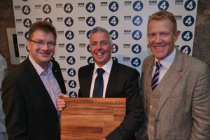 l-r: Neil Darwent with judges, farmer Mike Gooding and Countryfile presenter Adam Henson.