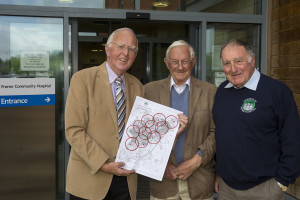 Friends of Frome Hospital LR Project Leader Derek Trick Dr John Moxon & Chairman Peter Smith Unveiling the Friends of Frome Hospital Community Defibrillator Project