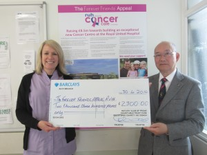 Paul Pang of Rotary Club of Frome presenting Paula Richards with a cheque for £2,300 towards her China Trek fundraising total.