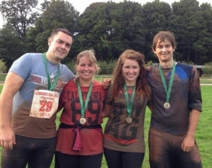 James Bradley, Sarah Surman, Becky Surman and  Jack Harrison after a Marine Commando Challenge last year before Jack and Becky signed up for Tough Mudder.