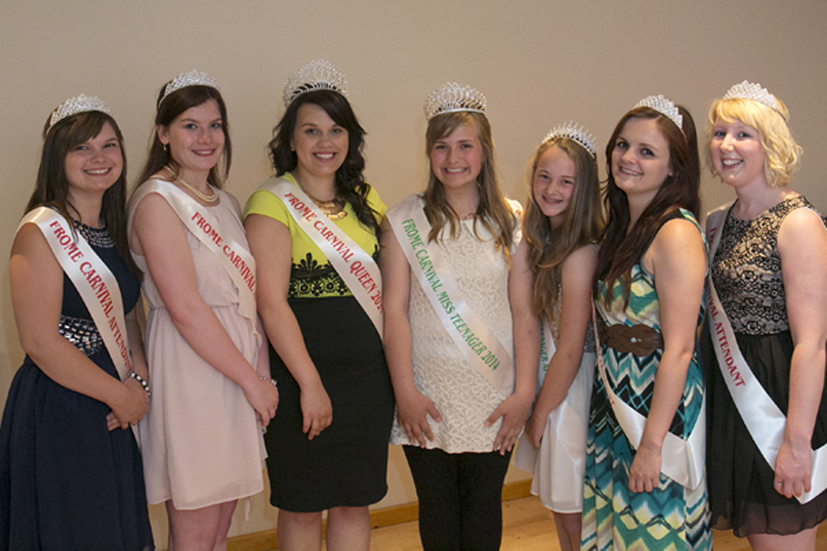 Left to right: Carnival Attendants Kayleigh Davey and Jessica Davies; Carnival Queen Charlotte Mill; Miss Teenager Lily Breeze and Miss Teenager Attendant Melissa Cook; Carnival Queen Attendants Alex Morgan and Rebecca Milner