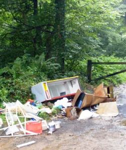 Fly tipping on the roads near Frome.