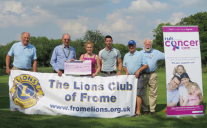 l-r, Roger Windley, Frank Collins  (president), Zoe Tainton (community fundraiser at The Forever Friends Appeal), Jordan Laurence (assistant manager of Orchardleigh Golf Club), Peter Rumming and Keith McLeod (chairman of the Golf Committee).