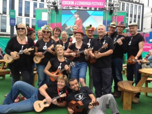 Frome Ukulele Club at the BBC studios for The Edinburgh Festival.