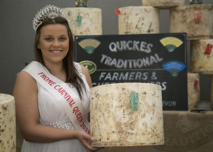 Frome Carnival Queen Charlotte Mill on the Quickes Traditional Farmers and Cheesemakers stand