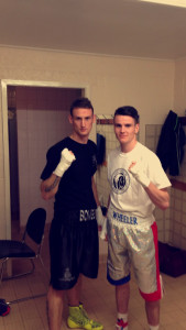 Ryan (right) with training partner Rob Brown.