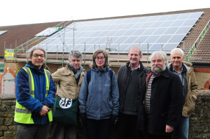 The Frome Town Council Team outside the Cheese and Grain when the solar panels were being installed