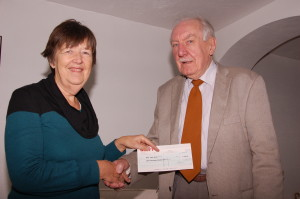 Jim Beck receives his winning cheque from Sue Worringham, chair of the Frome Community Trust.