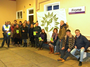 The protest at Frome station
