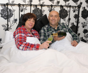 Richard and Kath of The Old Bath Arms enjoying bed and a champagne breakfast!