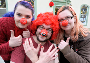 Mary Jane Wiltshire Dale Taylor and Hannah Coombes at Not Just Pets raise £160 for Red Nose Day
