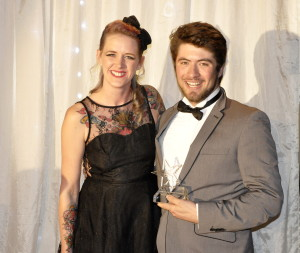 Winner of the Best Overall Performance, Ben Hardy-Phillips, pictured with Kerry Stevens of main sponsors, The Little Flower Company