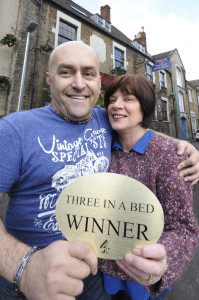 Richard and Kath with the Three in a Bed trophy