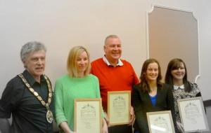 Mayor Peter Macfadyen with award winners Emma Warren, Kevin Corcoran, Cara Honey and Kate Wright
