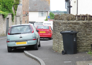 Bottleneck areas on the pavement in Frome