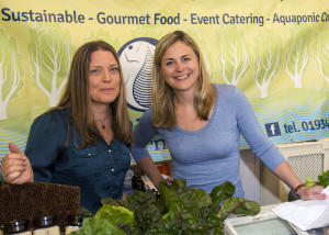 l-r, Amanda from Bioaqua Farm and BBC 'Harvest' presenter Philippa Forrester.