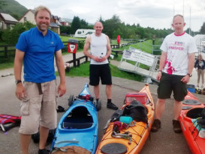 Simon, Chris and Lucas on dry land in Scotland