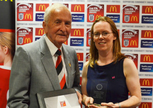 Sarah Davies and Francis Hillier (Somerset FA President)