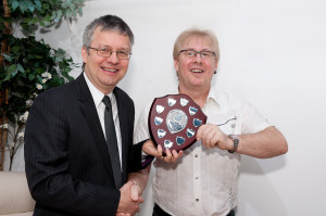 Frome Times editor, Ian Drew presents Pete Dayman-Johns with the award.