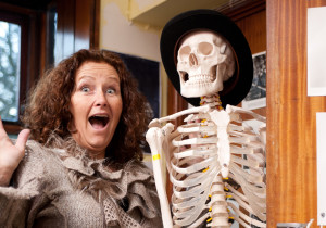 "Westway Cinema Skeleton ""Bones"" in the cupboard with Alexandra Slade front of house manager"