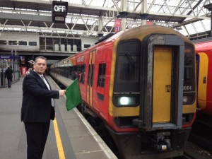 David Warburton MP launching the new South West Trains direct train service