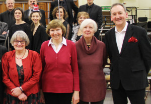 Ann (front left) with Radio 3 presenter Ian Skelly (far right), the other finalists and BBC singers
