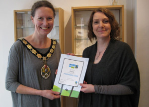 Mayor Kate Bielby with Christina Oswin, gold winner in last year's Fairtrade Business awards