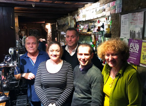 l-r, Simon Collingwood, owner & MD Marston Foods, Helen Sprawson-White of We Hear You (Formerly PAC), David Warburton MP, Graeme Barry, landlord of the White Hart and Janet Millar from Mama Upendo